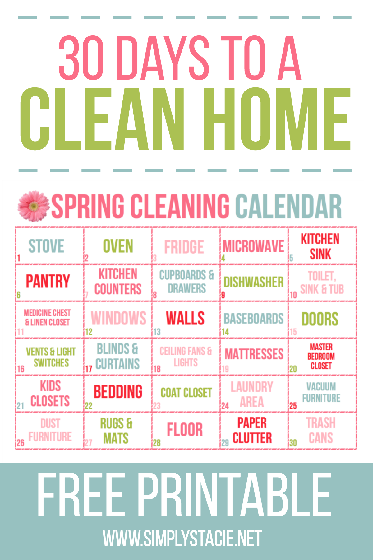 30 Day Spring Cleaning Calendar Organization Pinterest