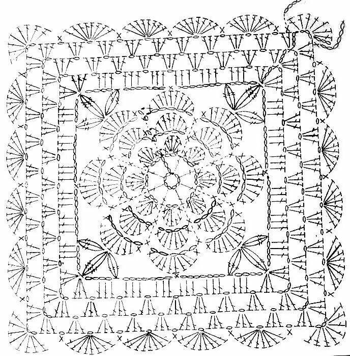089 Flor relieve central   multicolor   Motivos cuadrados crochet ...
