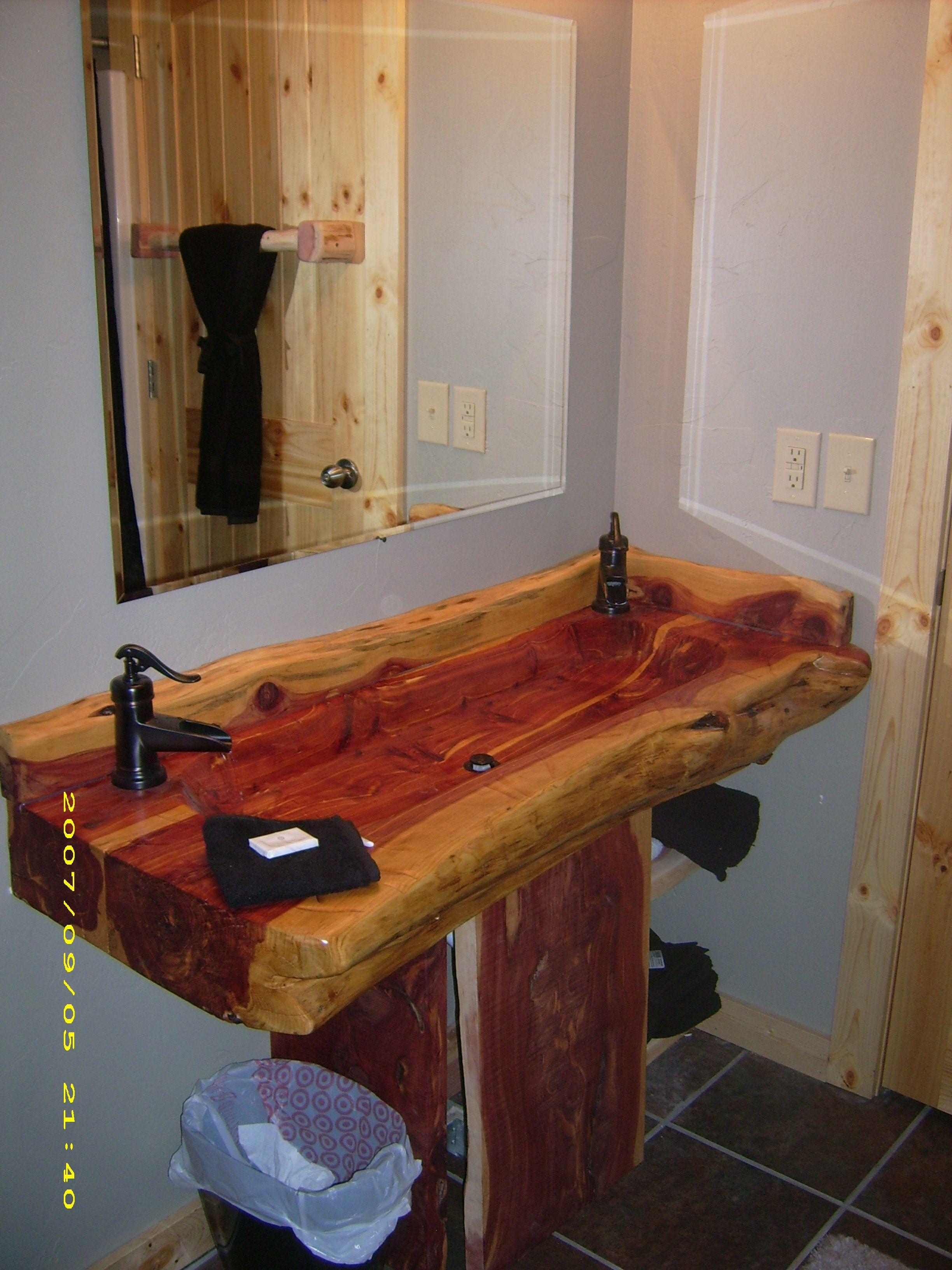 Hand Carved Cedar Double Wide Wooden Sink Wood Sink Wooden