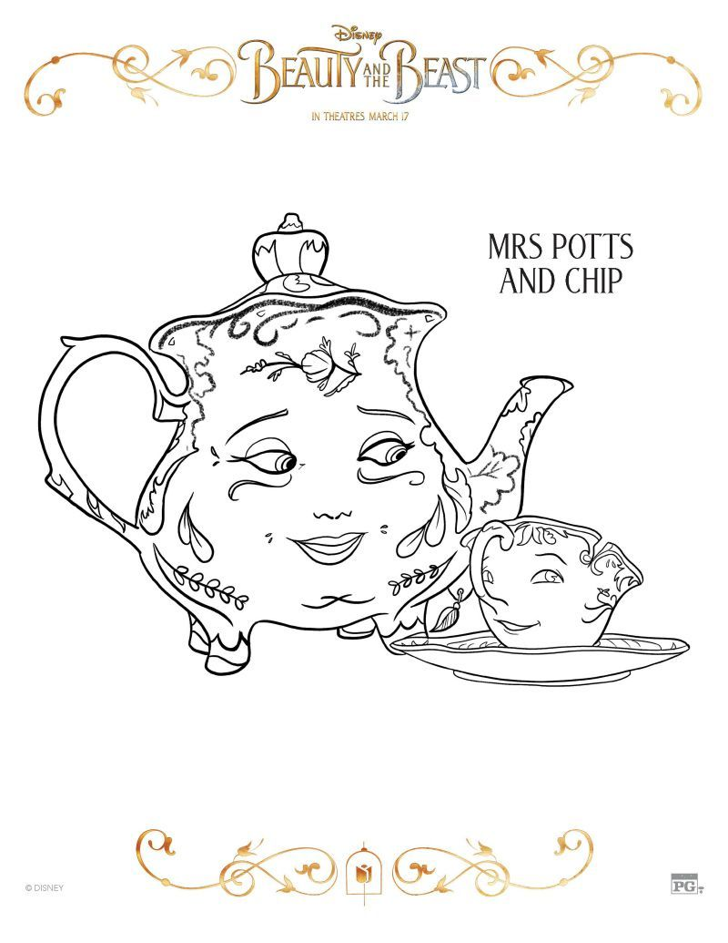 Image Result For Mrs Potts And Chip Coloring Page Disney