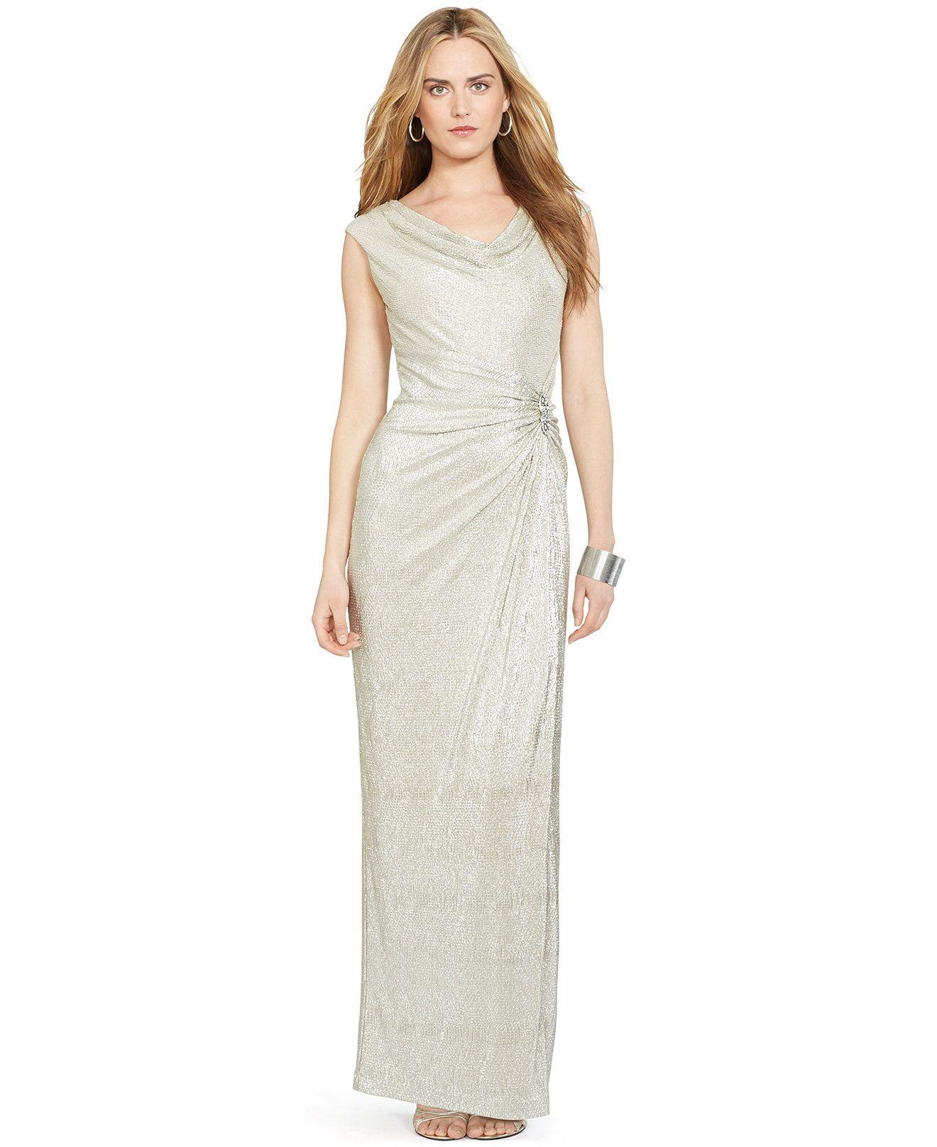 4c901ed3b72 Lauren Ralph Lauren Metallic Cowlneck Gown - Dresses - Women - Macy s