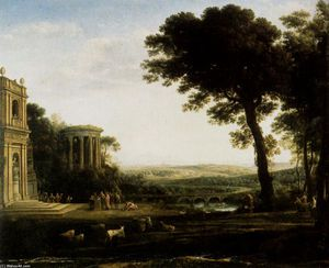 The father of Psyche sacrificing at the Temple of Apollo - (Claude Lorrain)  --  The Fight between Carnival and Lent depicts a common festival held in the Southern Netherlands. On the left side of the painting there is an inn, and in the right side of the painting there is a church. The juxtaposition is meant to illustrate the two sides of human nature: pleasure and religious ch...