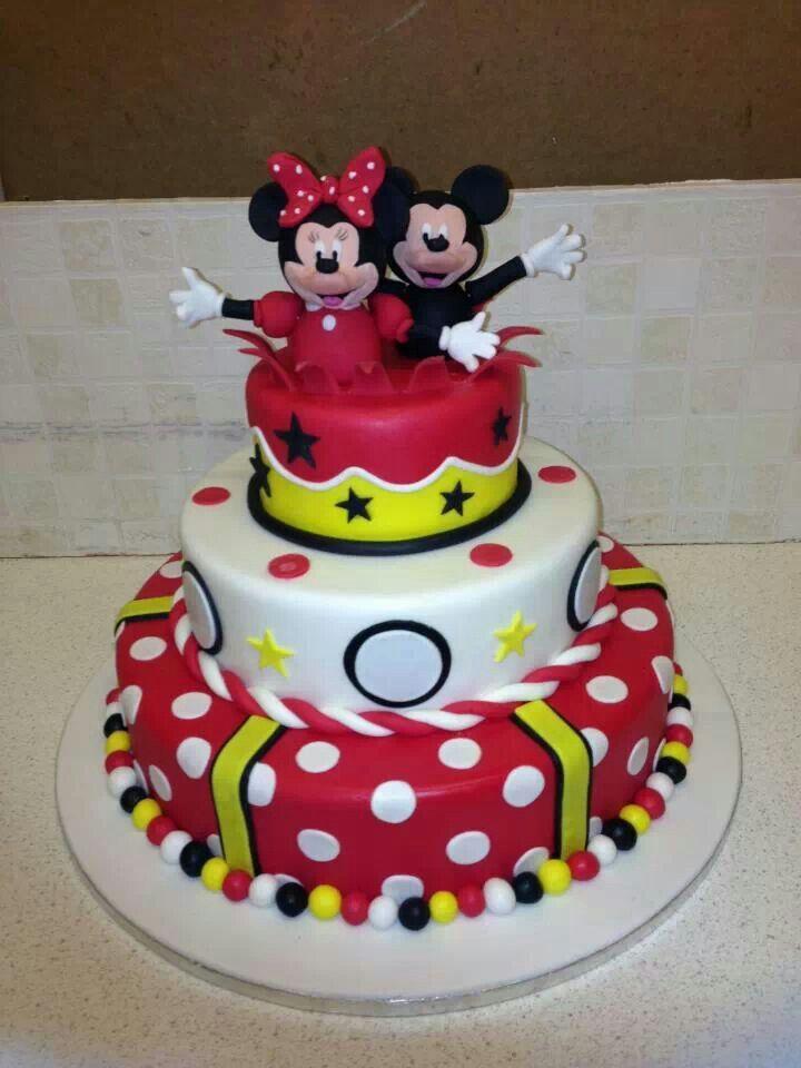 Fabulous Mickey And Minnie Cake Mickey And Minnie Cake Mini Cakes Personalised Birthday Cards Vishlily Jamesorg