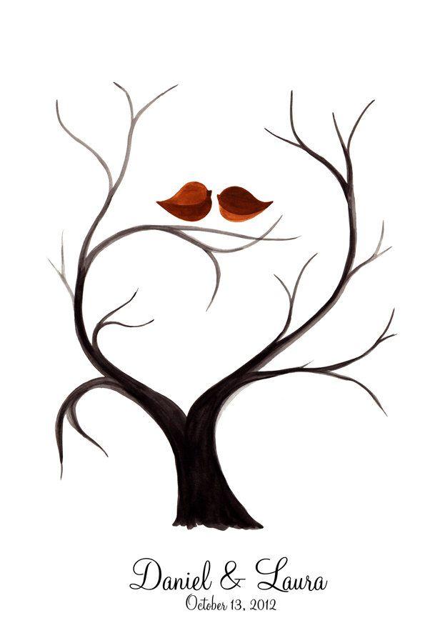 Fingerprint Wedding Tree, Custom Wedding Guest Book alternative,  thumbprint ready. $40.00, via Etsy.