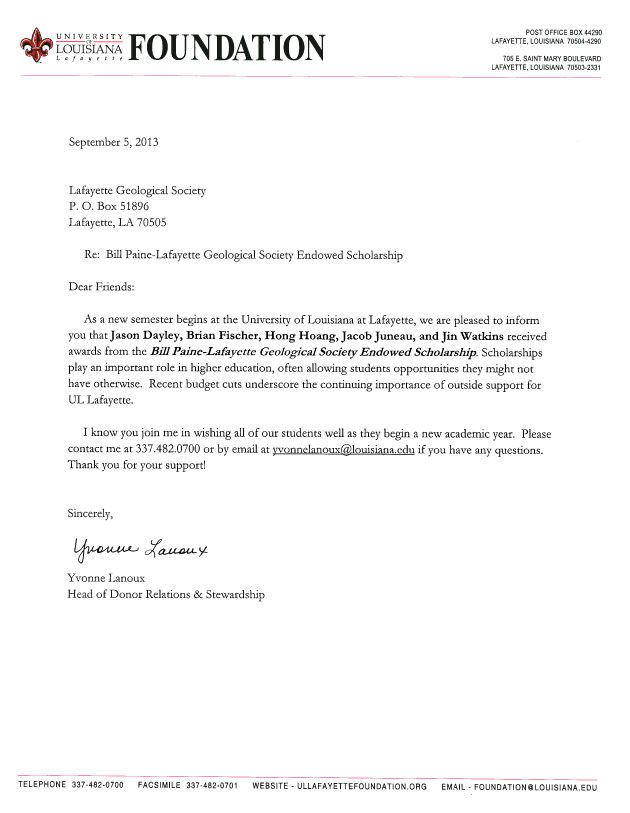 scholarships lafayettegeologicalsociety these scholarship thankyou - thank you letter for scholarship award