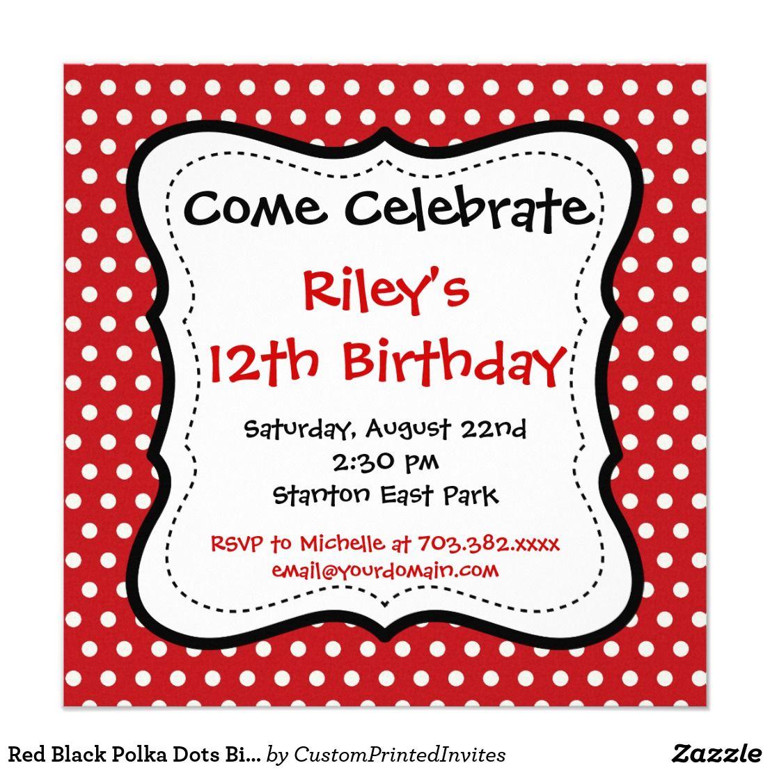 Red Black Polka Dots Birthday Party Invitations | Kid\'s Birthdays ...