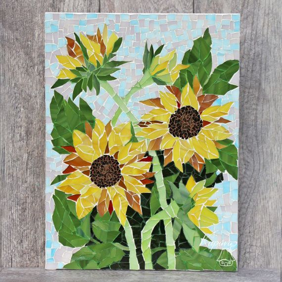 Sunflowers. Beautiful Mosaic Flowers. Wall mosaic decor. Mosaic Art ...