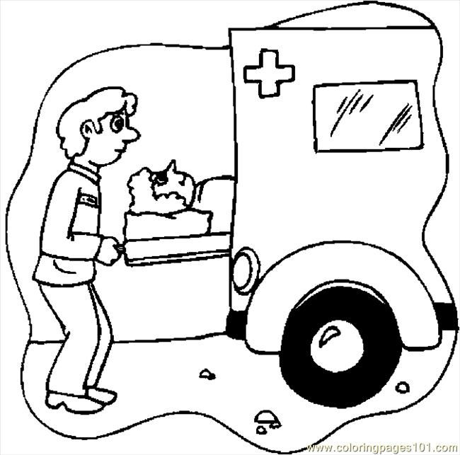 cartoon amblance driver coloring pages ambulance driver 1 - Ambulance Coloring Pages Kids