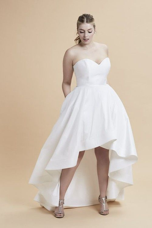 A-line Sweetheart Satin High Low Plus Size Wedding Dress | Plus Size ...