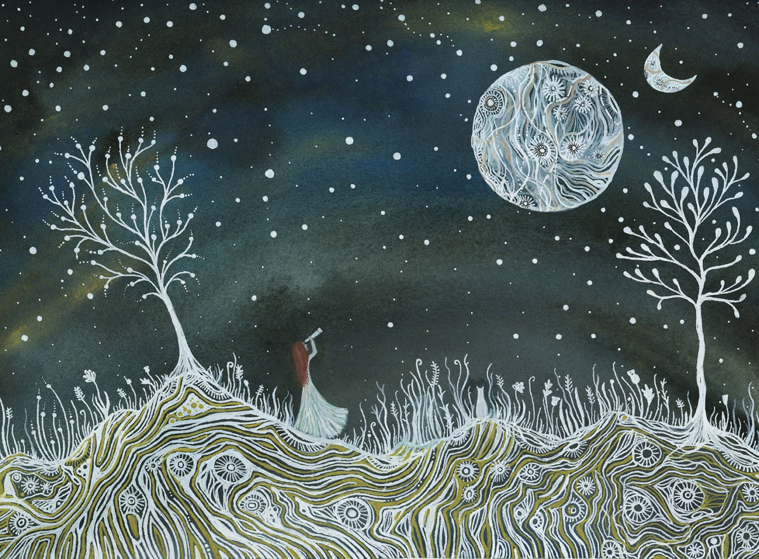 Fine art Print-Emma & the valley of two moons 02 by elisemahanfineart on Etsy https://www.etsy.com/listing/52255385/fine-art-print-emma-the-valley-of-two