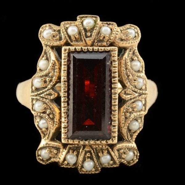3834b195ccb Victorian 9K Yellow Gold Garnet and Seed Pearl Openwork Ring #EBTH