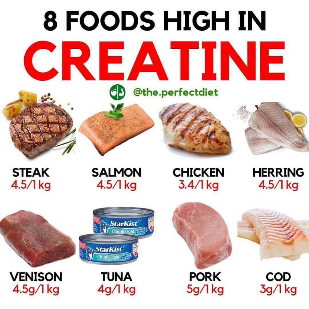 8 foods high in creatin . . For daily dose of motivation