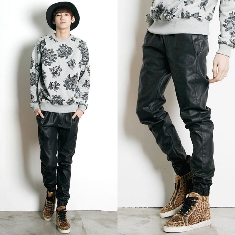 Remember Click Leather Coated Drawstring Jogger Pants BLACK ONE SIZE Korean Wear #RememberClick #CasualPants