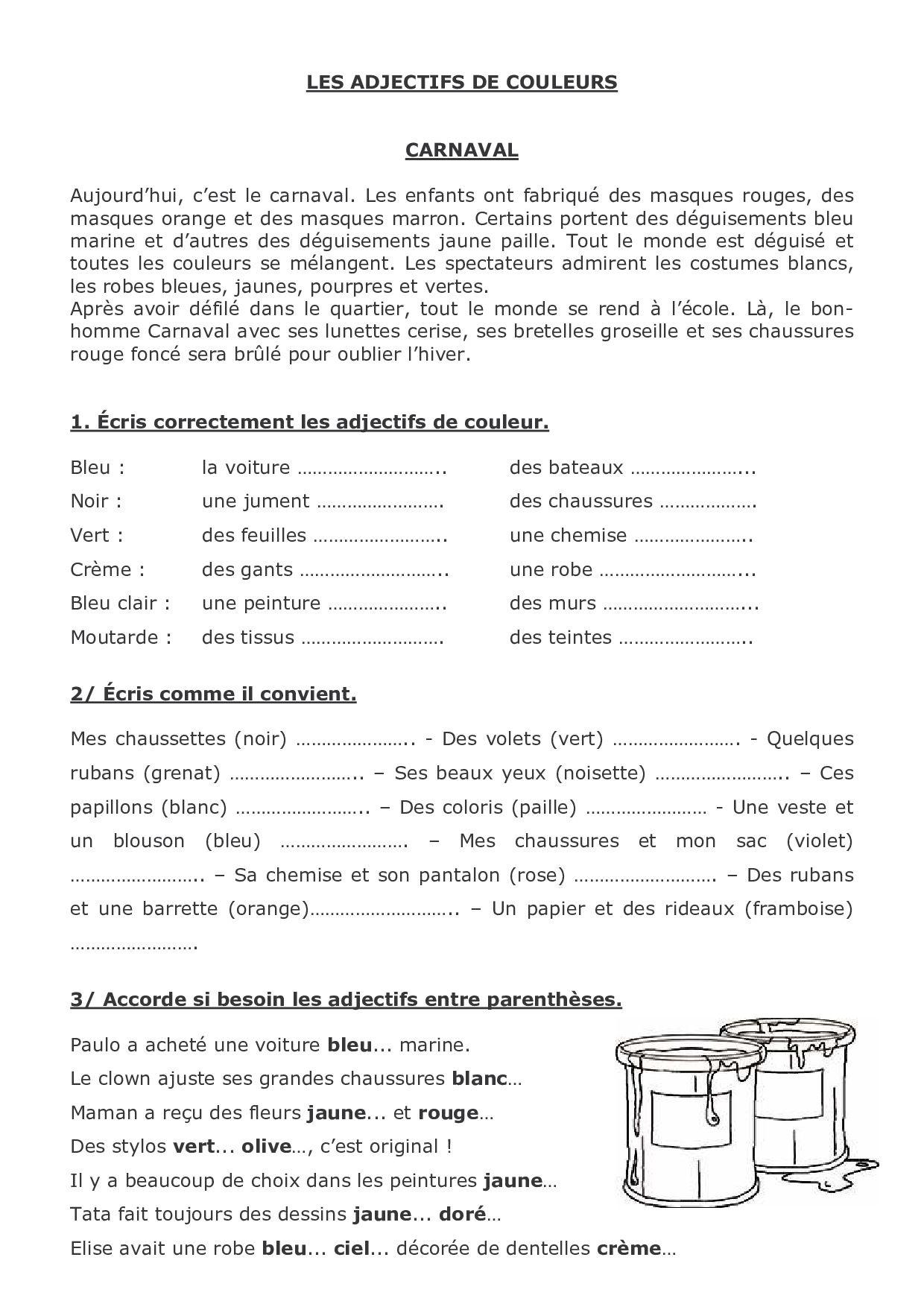 Les Adjectifs De Couleur Exercices Alloschool Les Adjectifs De Couleur Les Adjectif Adjectifs