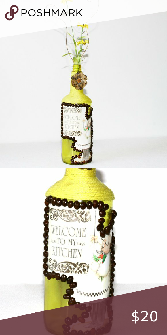 Yellow Fat Chef Kitchen Liquor Bottle Welcome Design Coffee Beans Gift Handmade Mother/'s Day House Warming Coffee Lover