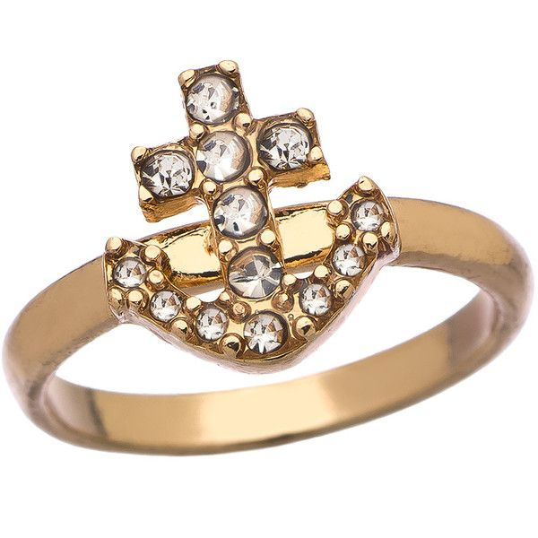 Blu Bijoux Gold and Crystal Anchor Ring (€14) ❤ liked on Polyvore featuring jewelry, rings, gold anchor ring, gold ring, blu bijoux jewelry, yellow gold jewelry and gold anchor jewelry