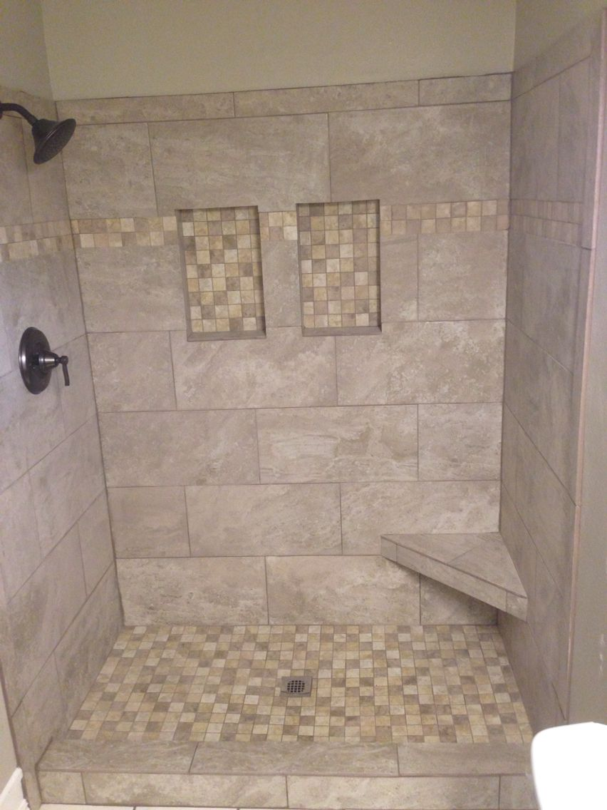 Master shower with niches & bench Master shower, Tile