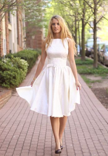 Audrey style tea length wedding dress $140 | Vintage inspired ...