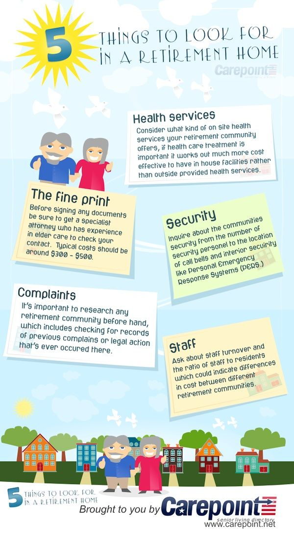 5 Things To Look For In A Retirement Home Infographic Retirement Aging In Place
