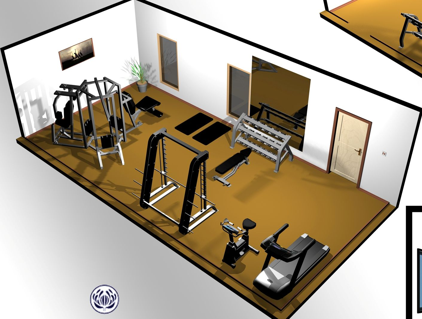 good layout with all the right equipment home gym pinterest fitnessraum fitnessstudio zu. Black Bedroom Furniture Sets. Home Design Ideas