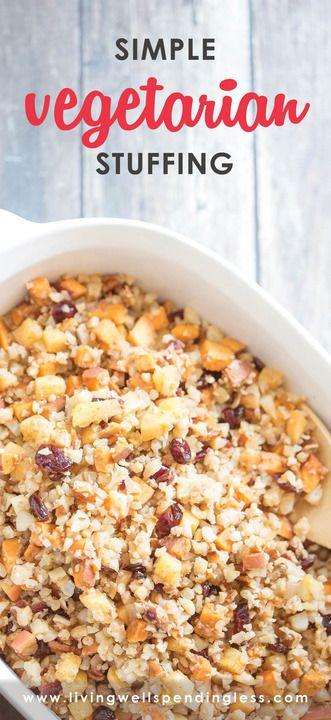 Cauliflower and Pecan Stuffing  | Vegetarian Side Dish for Thanksgiving #thanksgivingsidedishes