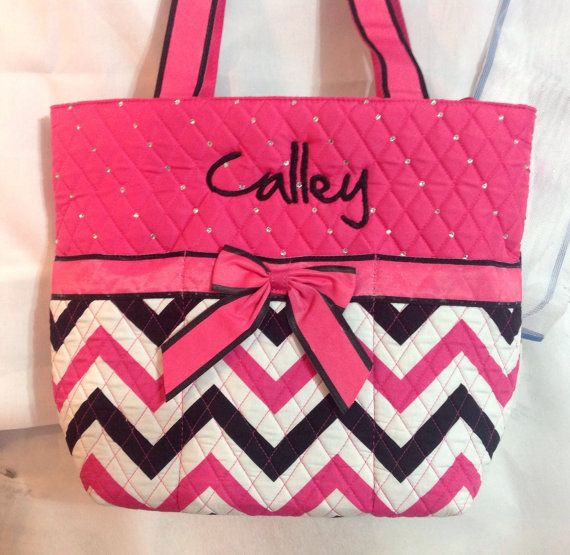 Personalized  Chevron  Tote Bag by SheColorsWithThread on Etsy, $48.00