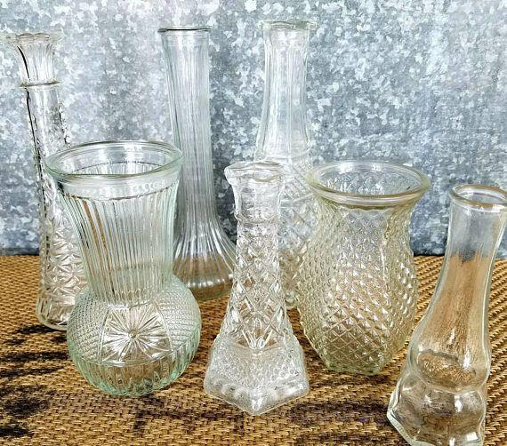 Clear Glass Bud Vase Collection 7 Vintage Bud Vases Vintage