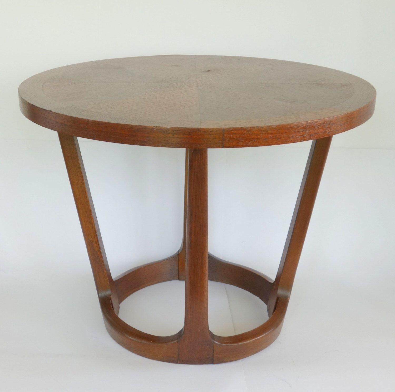 walnut side table vintage lane rhythm round end table by
