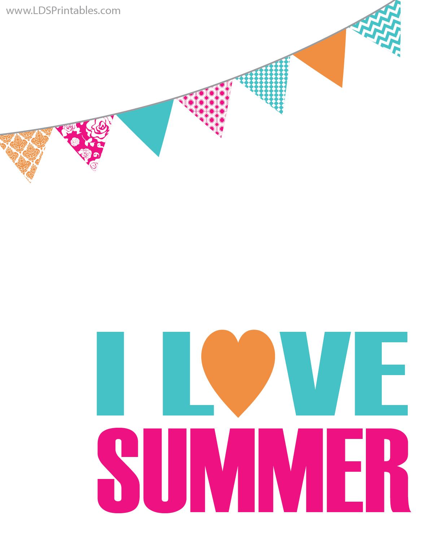Printable I Love Summer Art Print