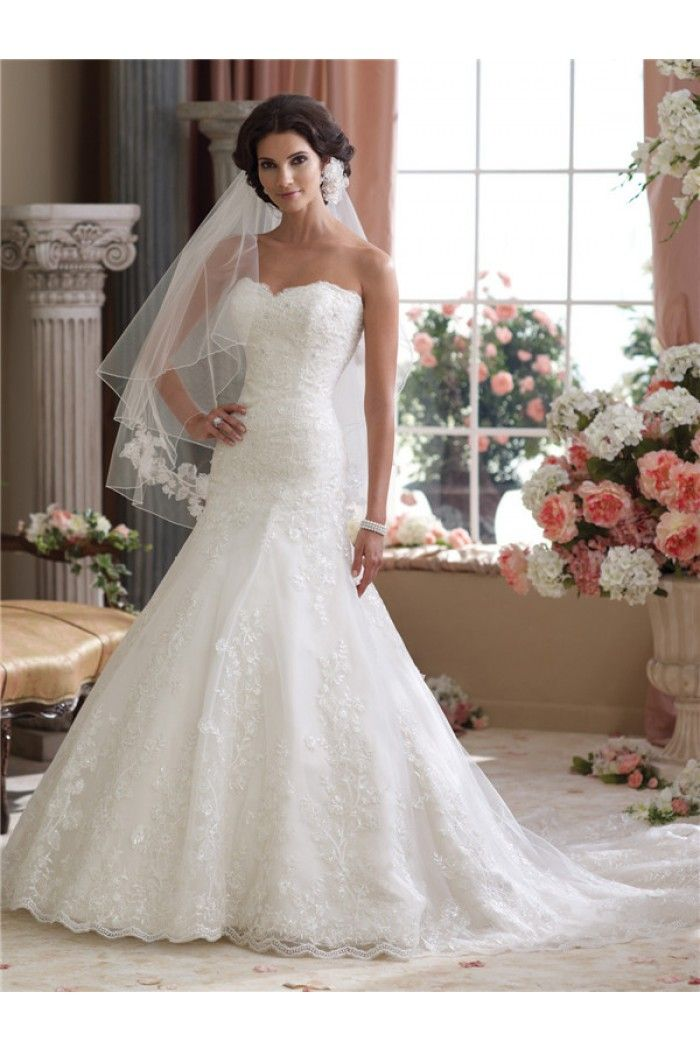 Classy Mermaid Trumpet Strapless Lace Wedding Dress With ...