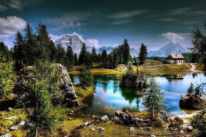 Lago Federa, Dolomity, Jezero, Hory