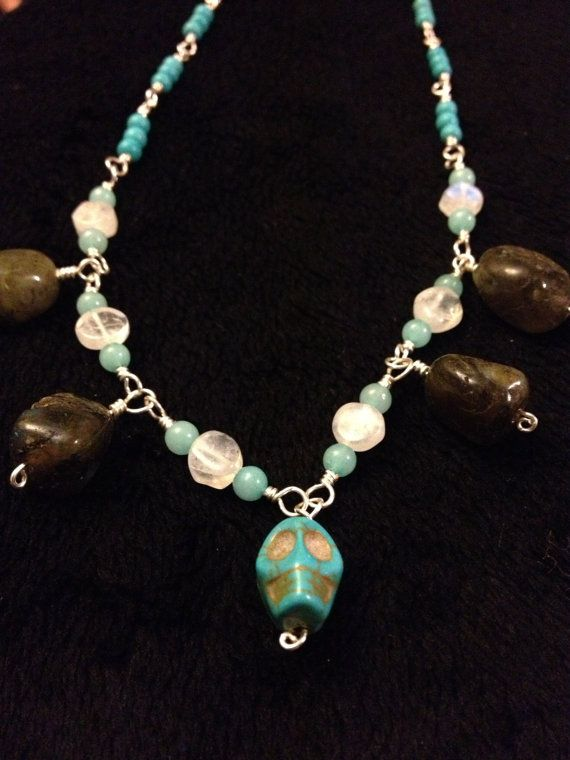 Turquoise skull necklace by TheTeacupandStarCo on Etsy, $45.00