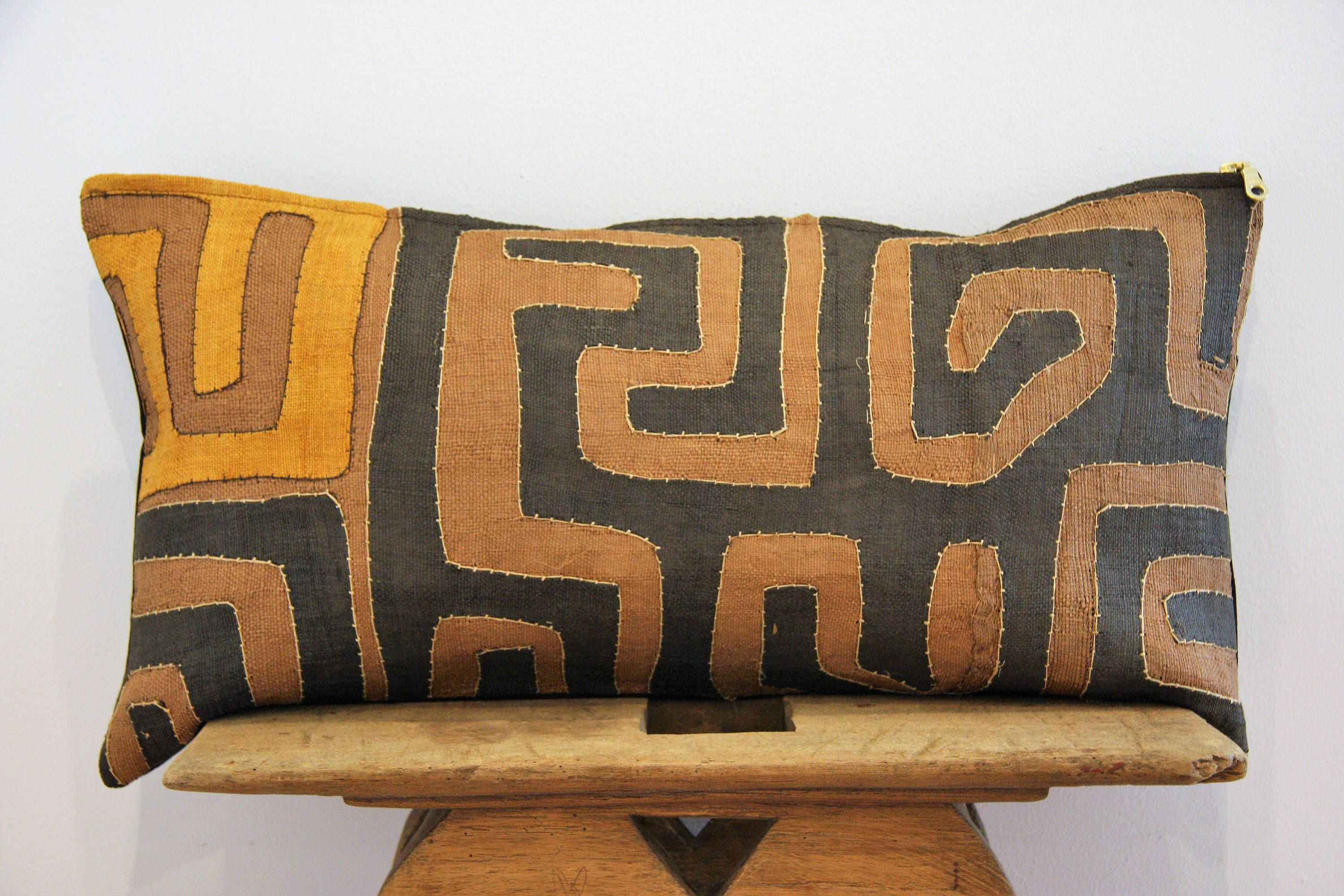 Kuba Cloth Pillow Cover 12x24 Vintage Fabric Africa Handwoven Patchwork Home Decor Cushion