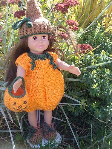 Pumpkin Costume pattern by Elizabeth Mareno | Crochet doll clothes ...