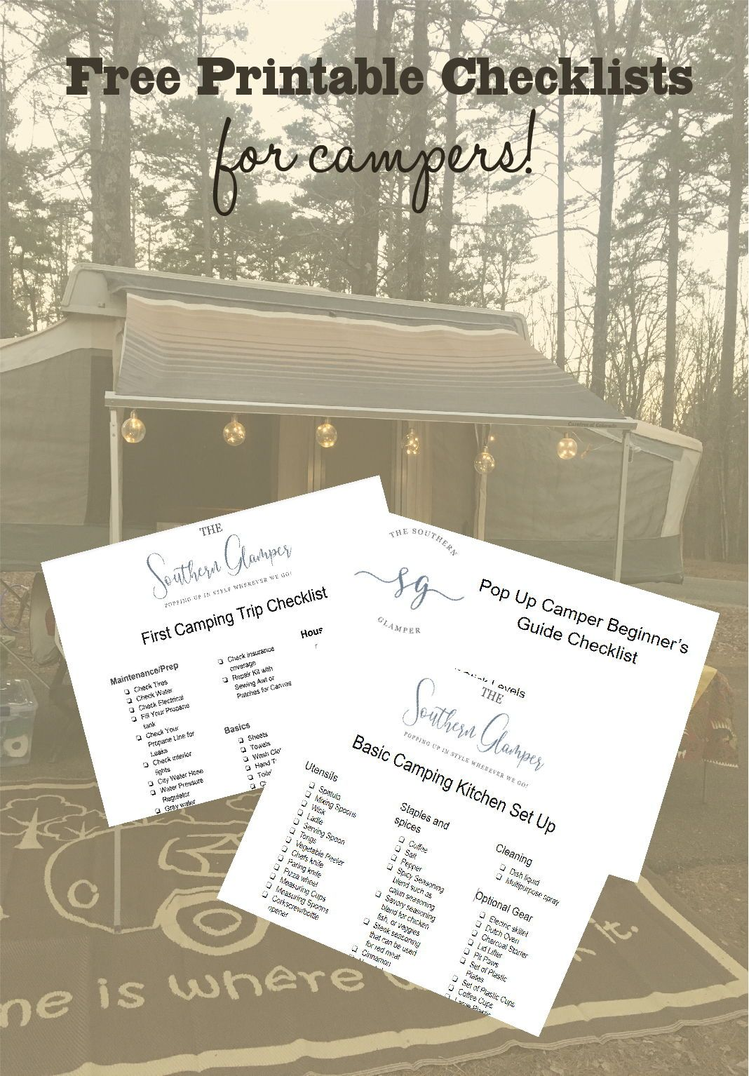 3 Basic Printable Checklists That You Can Use To Plan And Organize Your Camper Camping Checklist Camping Trip Checklist Camper Checklist