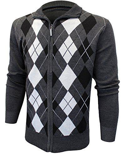 e707f3f62a73 Enimay Mens Argyle Zip Up Golf Long Sleeve Zipper Sweater…