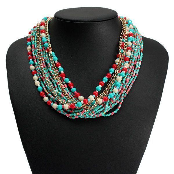Bohemian bib multilayer beads statement choker necklace women bohemian bib multilayer beads statement choker necklace women jewelry konstantino necklaces pendants necklace pendants mozeypictures Images