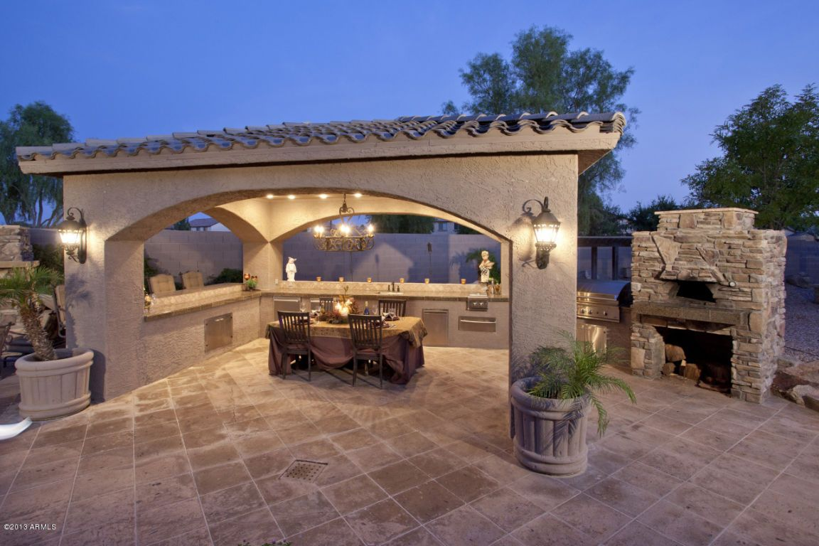 Elegant Outdoor Entertainment Area Pool Patio Porch