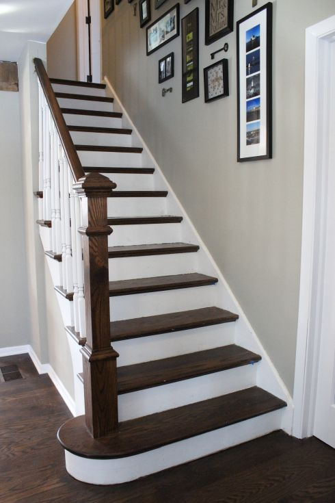 redone stairs for the stairs open the wall to the living room and the twotone stairs are awesome love the stain color