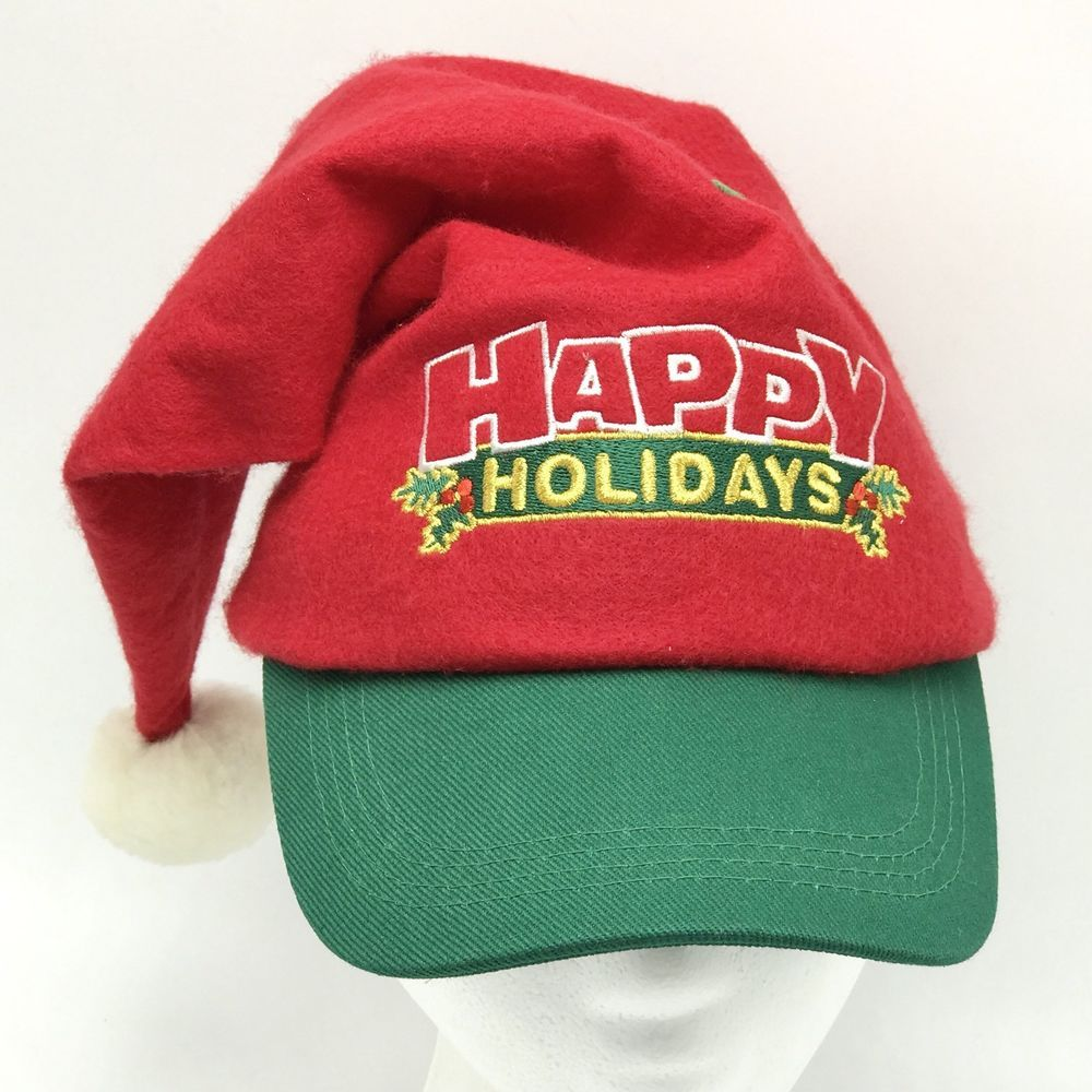Vintage Happy Holidays Santa Baseball Hat Snapback Cap Red Green  Embroidered Felt  0f73a3ec1465