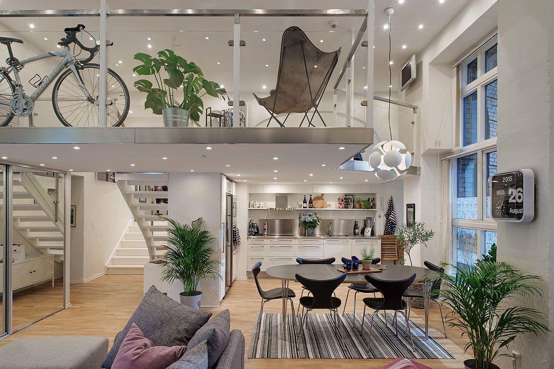 Cool modern loft apartment with mezzanine in gothenburg sweden by
