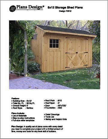 8 X 12 Saltbox Style Storage Shed Project Plans Design