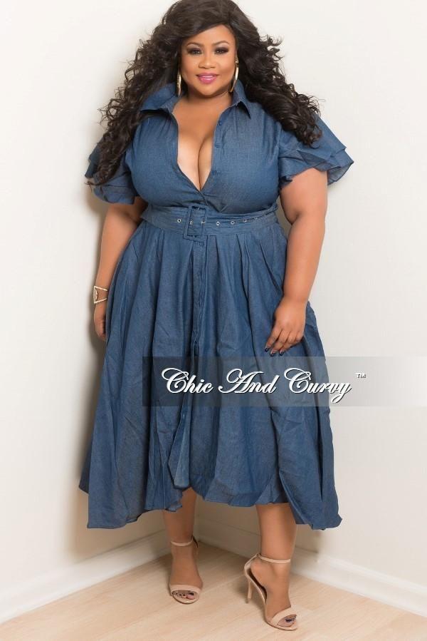 Final Sale Plus Size Denim Dress With Attached Belt | Plus ...