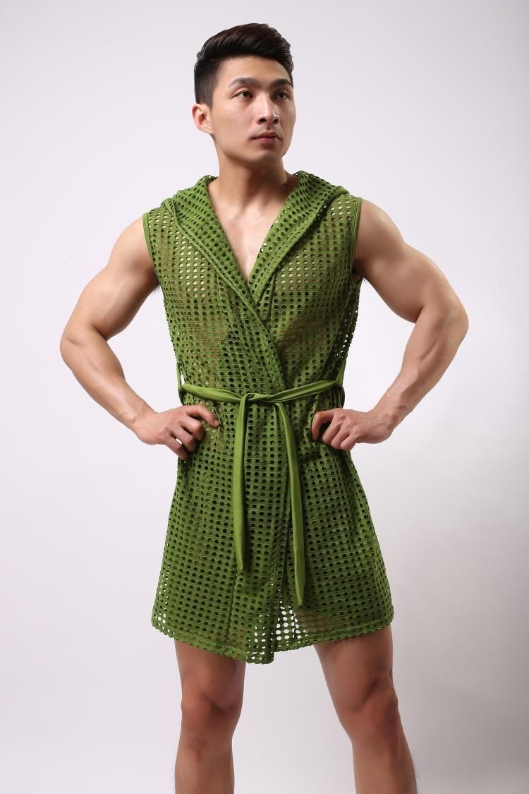 c26aa88127 male bathrobe summer elastic nylon mesh robe men with a hood bathrobe robe  sexy sleepwear men  Affiliate