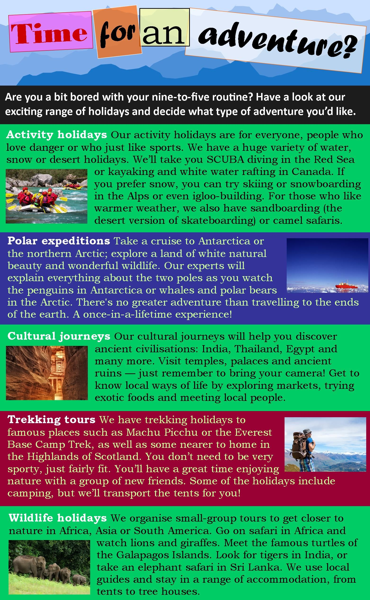 Adventure Travel Reading Comprehension English Reading Reading Skills Practice [ 2531 x 1563 Pixel ]