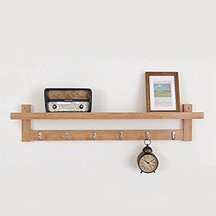 33 Amazon Com Pallamila Bamboo Wall Shelf Coat Hook Rack Unibody