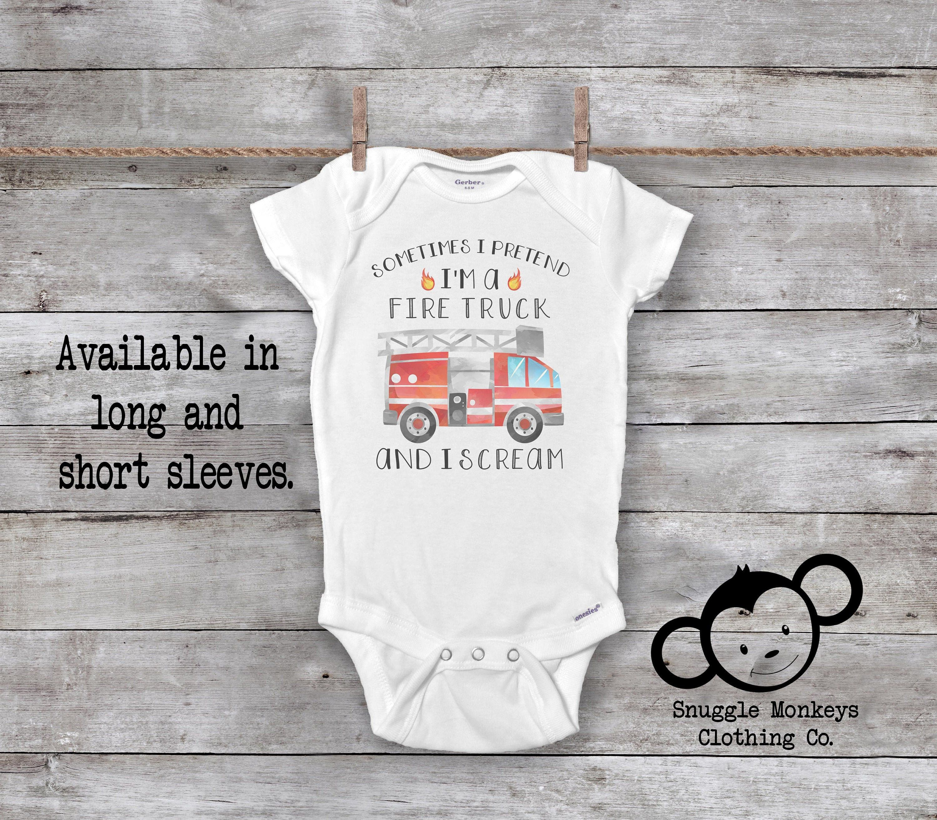 Personalised BABY GROW Boys Name FIRE Engine Fireman Bodysuit Baby Shower Gift