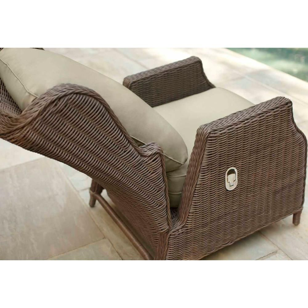 Brown jordan vineyard patio motion lounge chair in meadow with aphrodite spring lumbar pillow stock d11097 l the home depot