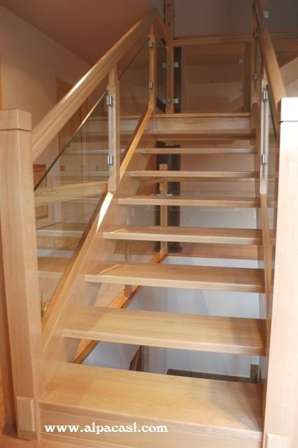Escalera completa en madera de haya y barandilla de cristal escaleras madera pasamanos y - Barandilla cristal escalera ...