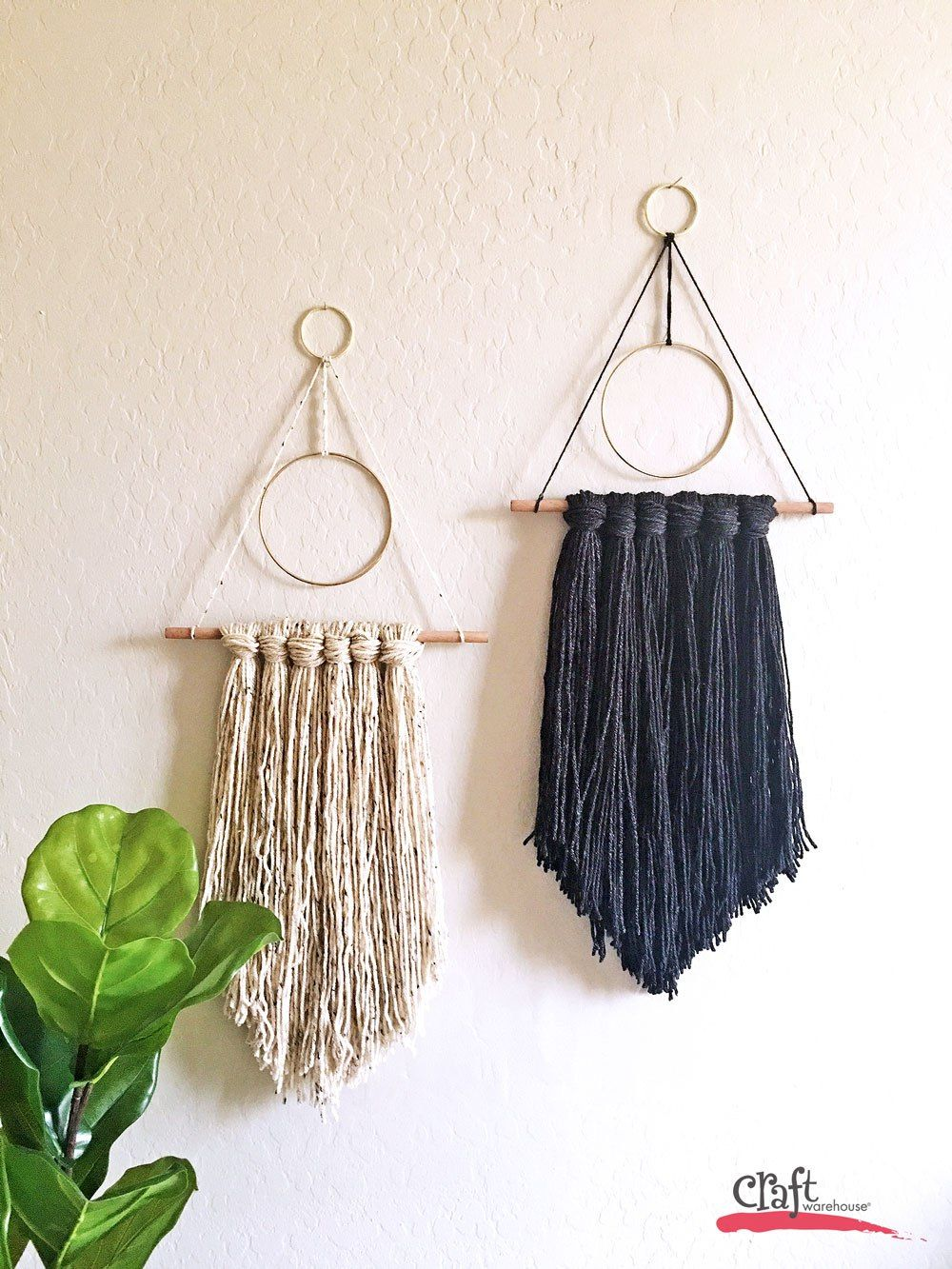 Gold hoop yarn wall hangings from Craft Warehouse